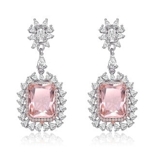 Collette Z Sterling Silver with Rhodium Plated Morganite Cushion with Clear Cubic Zirconia Halo Drop Earrings