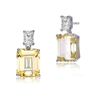 Collette Z Sterling Silver with Rhodium Plated Clear and Yellow Emerald Cubic Zirconia Two-Stone Drop Earrings