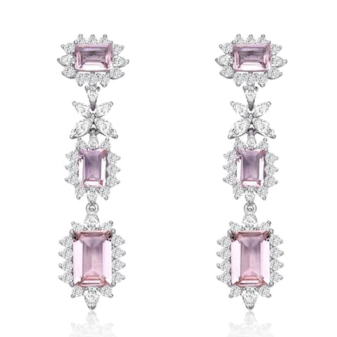 Collette Z Sterling Silver with Rhodium Plated Morganite Emerald with Clear Cubic Zirconia Halo Three-Tier Earrings