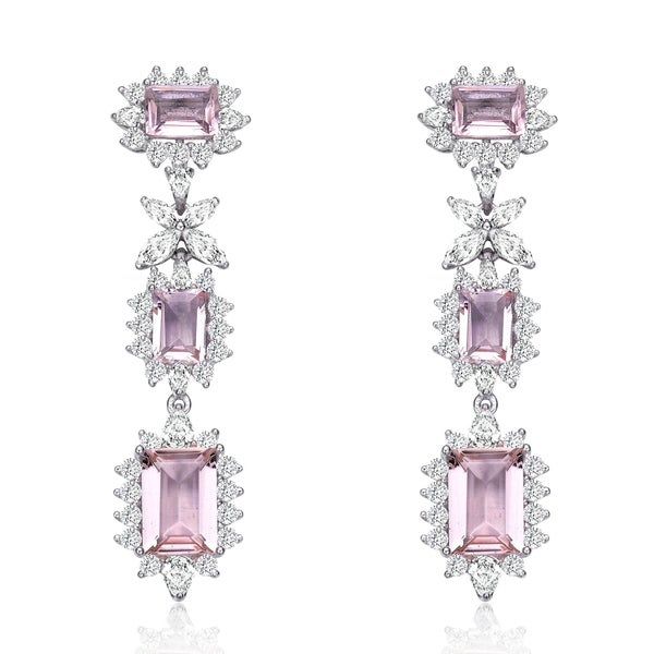 Collette Z Sterling Silver with Rhodium Plated Morganite Emerald with Clear Cubic Zirconia Halo Three-Tier Earrings. Opens flyout.