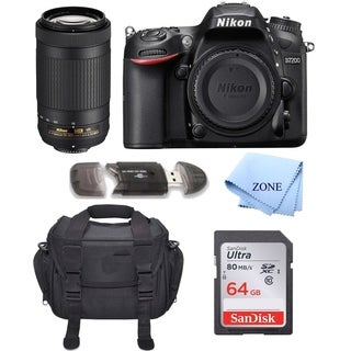 Nikon D7200 24.2 MP DSLR Camera (Black) w/Nikon 70-300mm f/4.5-6.3G ED Lens Bundle Includes 64GB Memory + Deluxe Bag Bundle