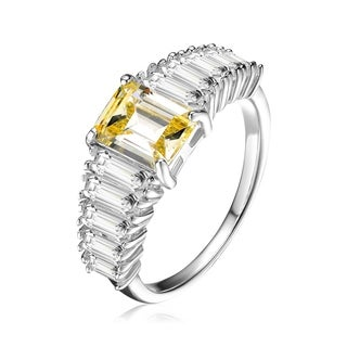 Collette Z Sterling Silver with Rhodium Plated Yellow Asscher with Clear Emerald Cubic Zirconia Cluster Ring