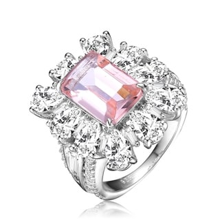 Link to Collette Z Sterling Silver with Rhodium Plated Morganite Emerald with Clear Pear Cubic Zirconia Halo Ring Similar Items in Earrings
