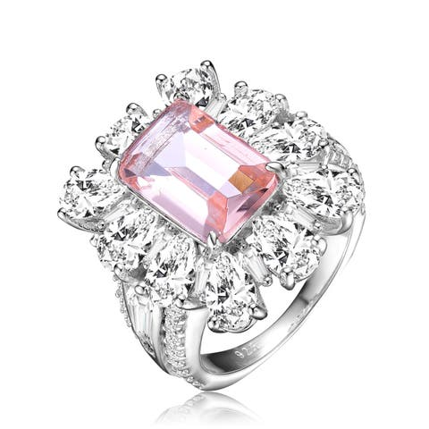 Collette Z Sterling Silver with Rhodium Plated Morganite Emerald with Clear Pear Cubic Zirconia Halo Ring