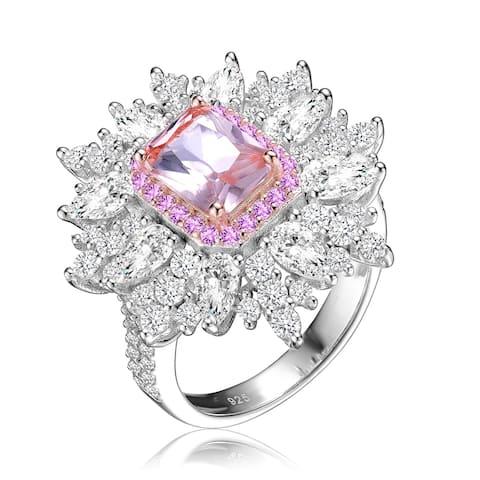 Collette Z Sterling Silver with Rhodium and Rose Gold Plated Morganite Radiant with Clear Cubic Zirconia Halo Ring