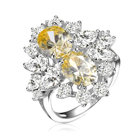 Collette Z Sterling Silver with Rhodium Plated Yellow Oval with Clear Pear and Round Cubic Zirconia Cocktail Ring