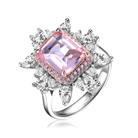 Collette Z Sterling Silver with Rhodium and Rose Gold Plated Morganite Radiant Cubic Zirconia with Halo Accent Cluster Ring