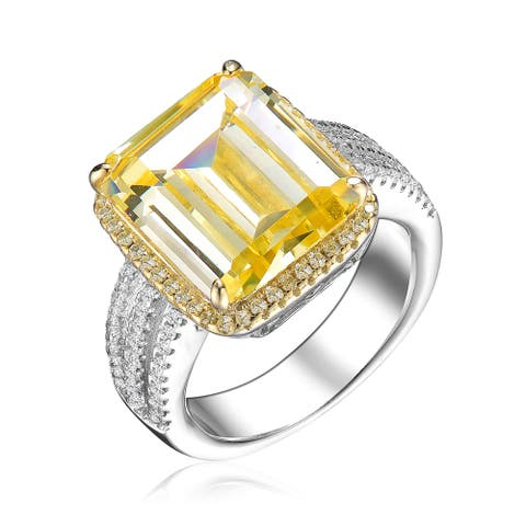 Collette Z Sterling Silver with Rhodium Plated Yellow Asscher with Clear Round Cubic Zirconia Triple Pave Ring