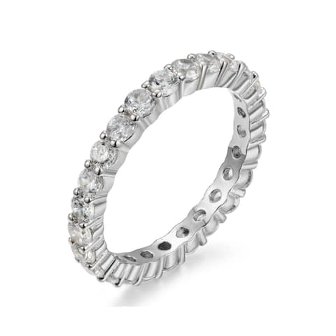 Sterling Silver 2.5mm Luxury Round Cut Eternity Band