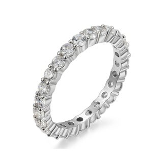 Link to Sterling Silver 2.5mm Luxury Round Cut Eternity Band Similar Items in Rings