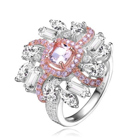 Collette Z Sterling Silver with Rhodium and Rose Gold Plated Morganite Cushion with Pink and Clear Cubic Zirconia Cluster Ring