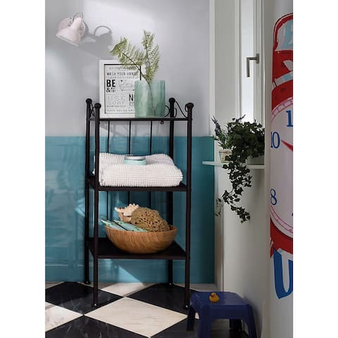 Isabelle Shelf with Glass Top, Black Metal