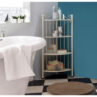 Isabelle Corner Shelf with Glass Tops, White Metal