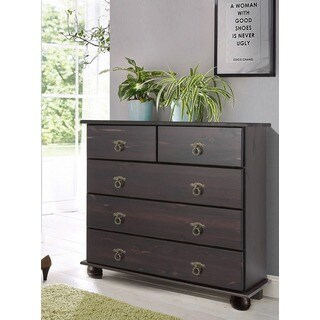 Fiona Chest of 5 Drawers, Solid Pine, Espresso
