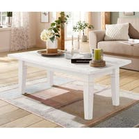 Tierra Solid Pine Coffee Table, Off-white