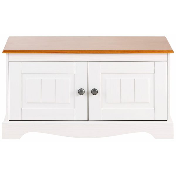 Monty 2 Door Solid Pine Storage Bench Off White Honey