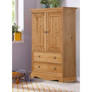 Monty 2 Drawer 2 Door Solid Pine Storage Cabinet, Natural