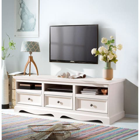Monty 3 Drawer Solid Pine TV Unit, Off-White