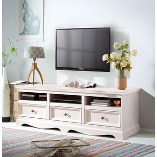Monty 3 Drawer Solid Pine TV Unit, Off-White