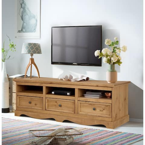 Monty 3 Drawer Solid Pine TV Unit, Natural