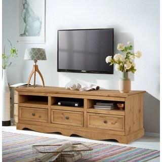 Monty 3 Drawer Solid Pine TV Unit, Natural