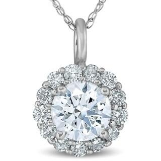 """Pompeii3 14K White Gold 1 ct TDW Halo Round Diamond Pendant 18"""" Chain Necklace"""