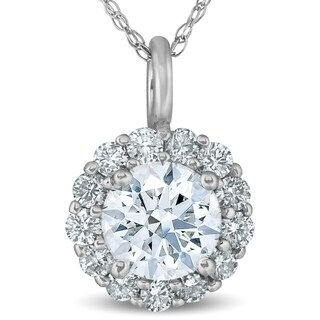 "Bliss 14K White Gold 1 ct TDW Halo Round Diamond Pendant 18"" Chain Necklace"