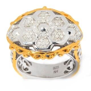 Michael Valitutti Palladium Silver Diamond Hexagon Flower Ring