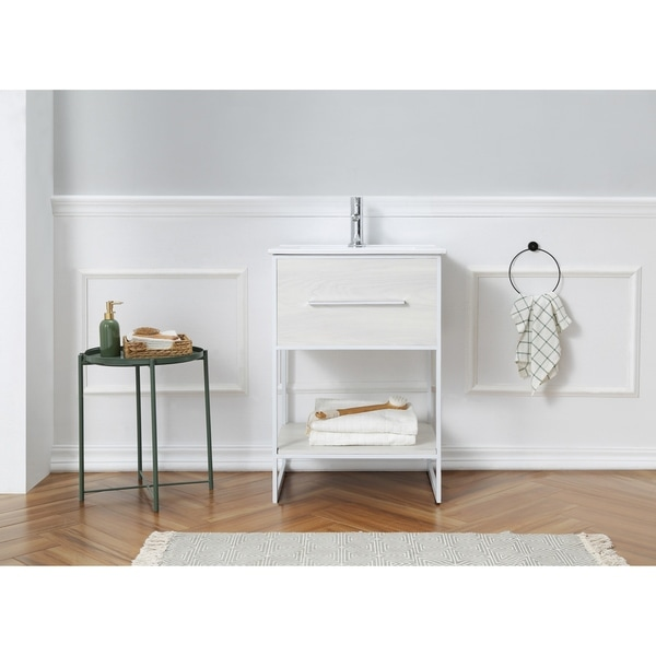 Shop 24 In White Finish Single Bathroom Vanity With White