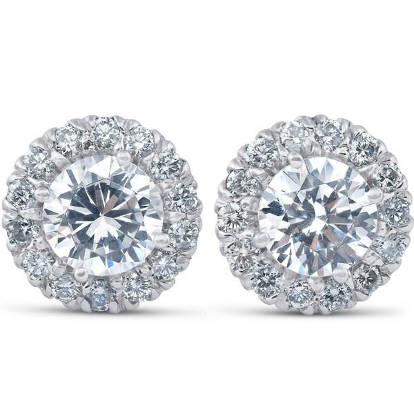 06a899138 Pompeii3 14k White Gold 2 5/8 ct TDW Halo Diamond Studs Clarity Enhanced 14k