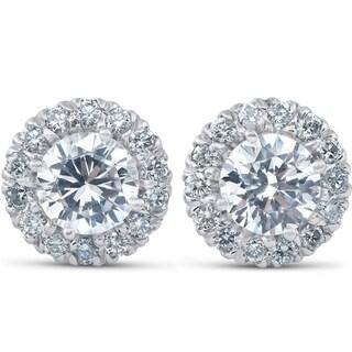 Bliss 14k White Gold 2 5/8 ct TDW Halo Diamond Studs Clarity Enhanced 14k White Gold