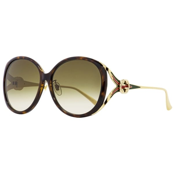 07a3fb968210f Shop Gucci GG0226SK 003 Womens Havana Gold 60 mm Sunglasses - Free Shipping  Today - Overstock - 24301578