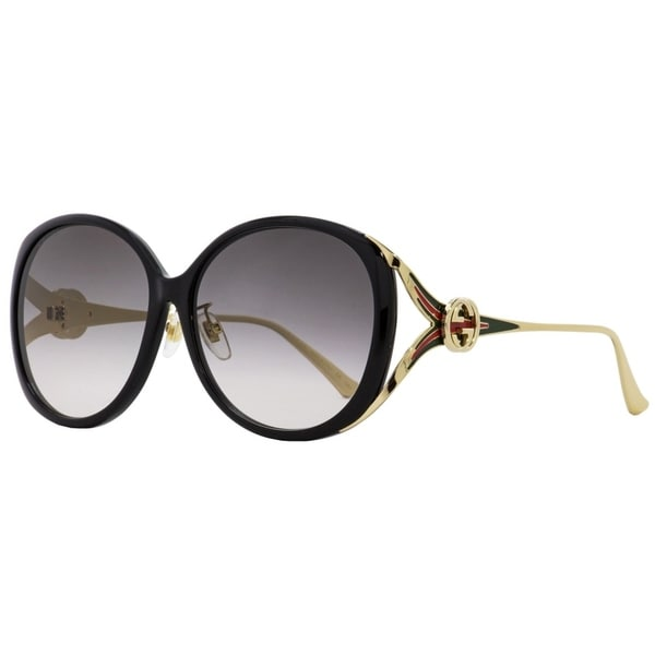 cf43634331 Shop Gucci GG0226SK 001 Womens Black Gold 60 mm Sunglasses - Free Shipping  Today - Overstock - 24301591