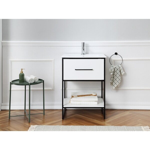 "24"" White Finish Sink Vanity With Black Metal Frame"