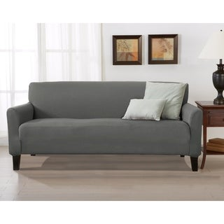 Home Fashion Designs Brenna Solid Collection Stretch Form-Fitted Sofa Slipcover