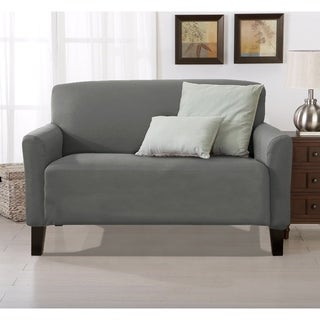 Link to Porch & Den Concordia Stretch Form-Fitted Loveseat Slipcover Similar Items in Slipcovers & Furniture Covers