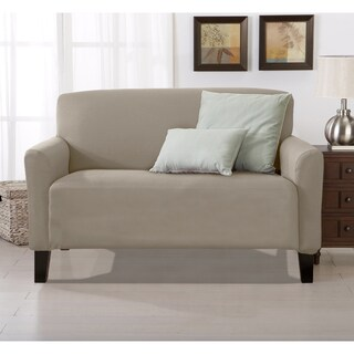 Home Fashion Designs Brenna Solid Collection Stretch Form-Fitted Loveseat Slipcover