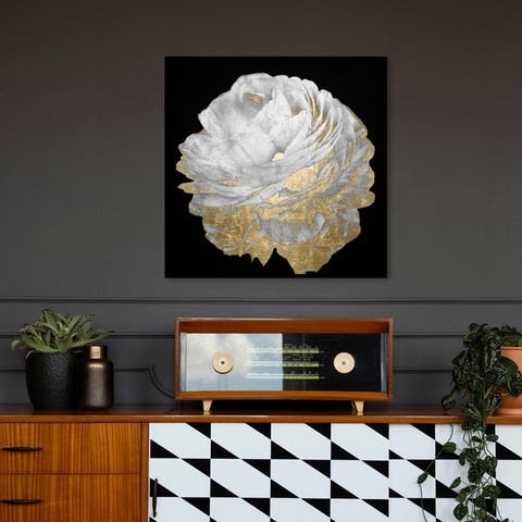 Oliver Gal 'Gold and Light Floral' Floral and Botanical Wall Art Canvas Print - Black, Gold