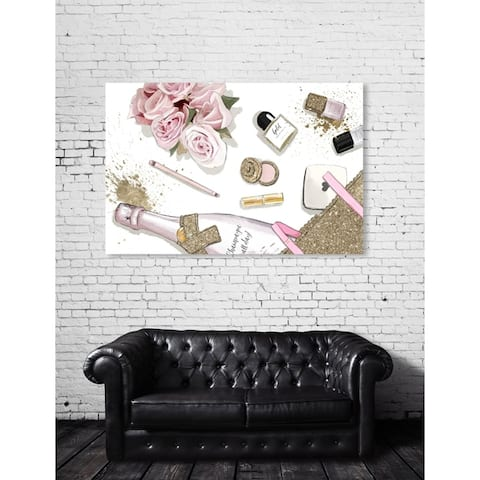 Oliver Gal 'Champagne All Day' Fashion and Glam Wall Art Canvas Print - Pink, Gold