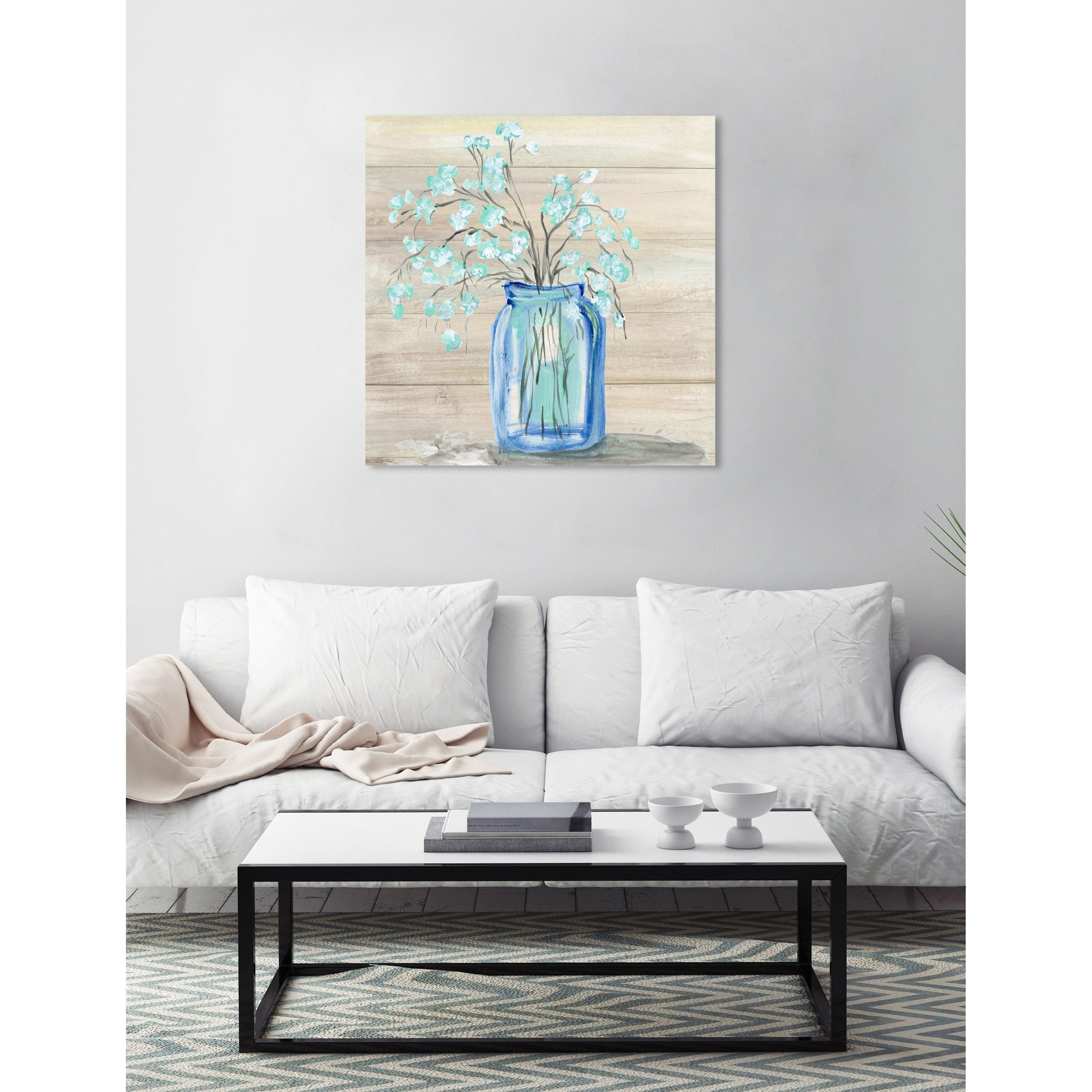 Shop Oliver Gal 26548 Mason Jar Flowers Floral And Botanical Wall Art Canvas Print Blue White Overstock 24301797