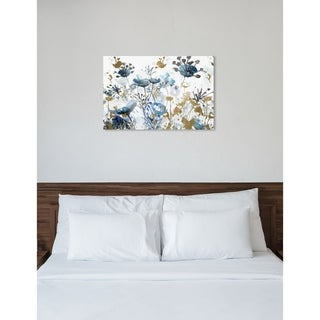 Oliver Gal 'Blue Garden Gold' Floral and Botanical Wall Art Canvas Print - Blue, Gold