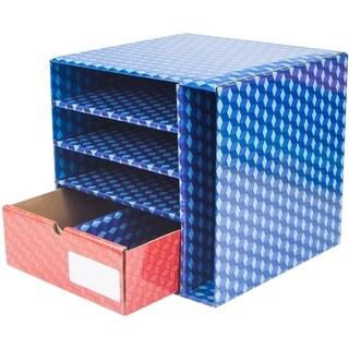 Storex Corrugated Supply Station with Drawer, Dry Erase Laminate