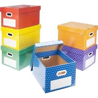Storex Laminated Corrugated File Tote, Dry Erase Laminate, 6-pack