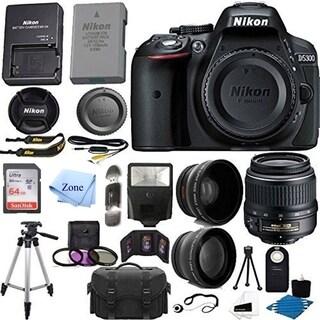 Nikon D5300 24.2 MP Digital SLR Camera w/ 18-55mm f/3.5-5.6G ED VR Auto Focus-S DX NIKKOR Zoom Lens +64GB SD + accessory Bundle