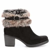 Xappeal Womens Bunny Faux Fur Heeled Ankle Boot Shoes