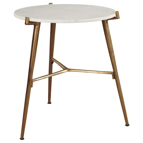 Chadton White/Gold Contemporary Glam Accent Table