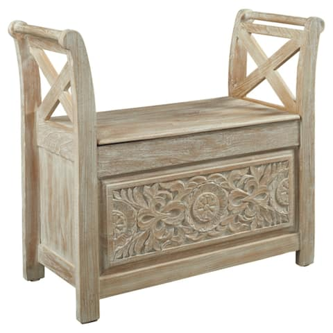 Realyn Contemporary Carved Floral Accent Bench