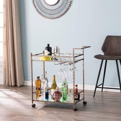 Silver Orchid Garland Metal Mirrored Bar Cart