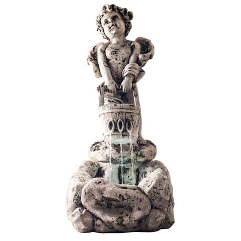 Outdoor Water Fountain With LED Lights, Lighted Cherub Angel Fountain With Antique Stone Design for By Pure Garden