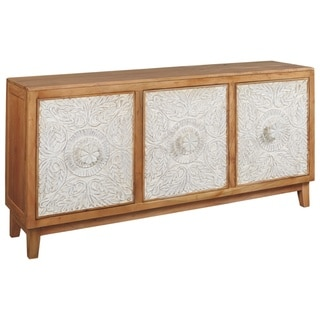 Lorenburg White Boho-Chic Accent Cabinet